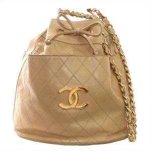 Chanel Bicolor Women's Leather Shoulder Bag Beige