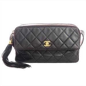 シャネル(Chanel) マトラッセ フリンジ付き レディース レザー ショルダーバッグ ダークブラウン