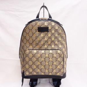 GUCCI GG Supreme Bee Backpack Beige Black Ladies Day Bag Gucci R205-18
