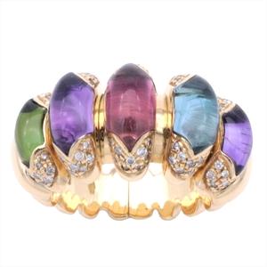 Bvlgari Certaura Yellow Gold (18K) Elegant,Fine Amethyst,Citrine,Diamond,Peridot,Topaz,Tourmaline Anniversary Ring Yellow Gold