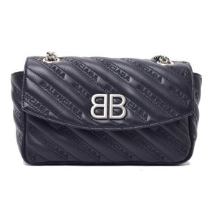 Balenciaga logo embroidery BB round chain shoulder bag leather