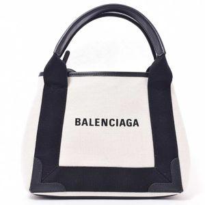 BALENCIAGA Navy cabas 2WAY shoulder off-white leather