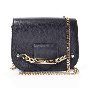 JIMMY CHOO Jimmy Choo Shadow Logo Plate Leather Chain Mini Shoulder Black