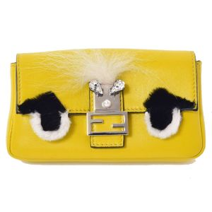 Fendi Monster Micro Baguette Chain Shoulder Leather