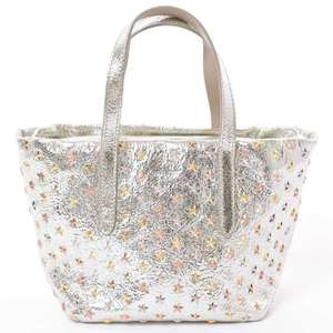 JIMMY CHOO Jimmy Choo MINISarah 2WAY Tote Silver Glitter Leather