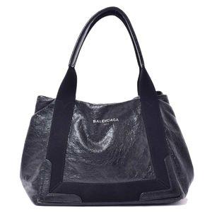 BALENCIAGA Navy cabas handbag leather