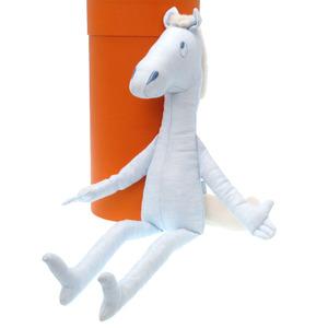 Hermes Mascot Pot Yock Plush Linen Blue Horse