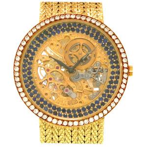 Audemars piguet skeleton gold sapphire diamond hand-wound watch 750 K18YG K14KT AUDEMARS PIGUET