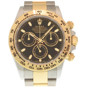 ROLEX Cosmograph Daytona 116503 K18 Gold Steel Roulette Black Dial Automatic Watch