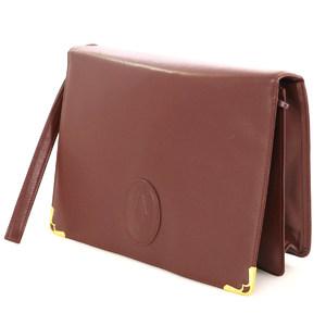 Cartier Must Women's Leather Clutch Bag Bordeaux Gold