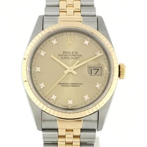 ROLEX Datejust K18YG Diamond Mens Automatic Stainless Steel Watch 16233G