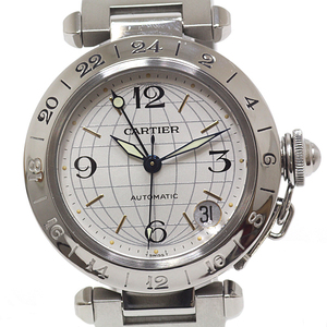 Cartier Boys Watch Pasha C Meridian GMT W31078M7 Silver Dial