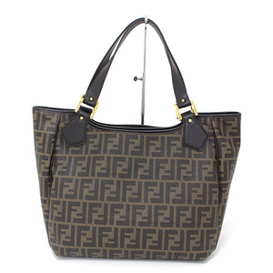 Fendi Zucca Shopping Tote Bag Dark Brown PVC Coated Canvas 8BH187
