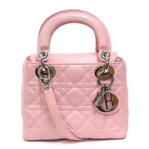 Christian Dior Shoulder Bag Lady 2way Handbag Canaju Stitch Pink Ladies Mens