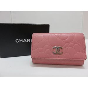 CHANEL Camellia A47436 Coco Mark Pink Leather 6 Key Case Silver Hardware 1st Series