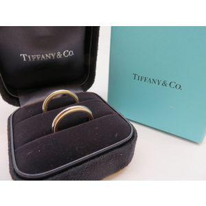 JA084-Tiffany & Co Tiffany Milgrain Ring AU750 K18 PT950 Pair