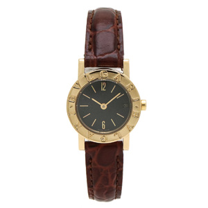 BVLGARI Bvlgari Date Dial K18 Leather Belt 750YG Ladies QZ Quartz Wrist Watch BB23GL
