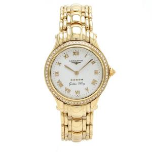 LONGINES Longines Golden Wing Five Star Diamond Bezel Dial K18YG 750 Mens QZ Quartz Wrist Watch L3.307.5