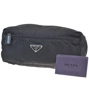 Prada Unisex Nylon,Leather Clutch Bag Black