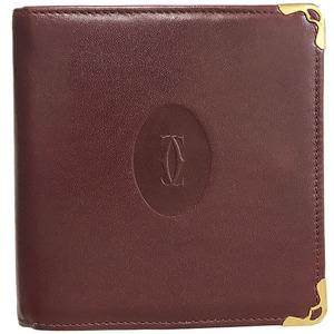 Cartier Wallet Mast Bi-Fold Leather 2C Box Purse Mini