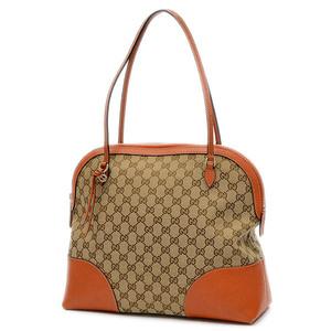 Gucci GG pattern shoulder bag canvas leather beige orange 323673