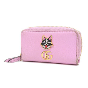 Gucci GG Marmont Bosco Key Case Leather Pink 499403