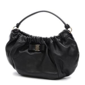 Salvatore Ferragamo Ferragamo Vala Ribbon One Shoulder Bag Leather Black AB-21C786