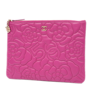Chanel Camellia 5 Clutch Bag Leather Pink