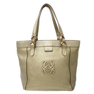 LOEWE Fusta Tote Shoulder Bag Leather Gold
