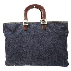 FENDI tote bag handbag denim leather