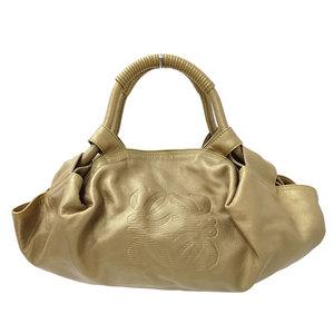 LOEWE Nappa Aire Anagram Handbag Leather Gold Ladies