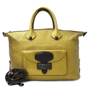 LOEWE Mei Handbag Shoulder Bag 2way Leather Gold