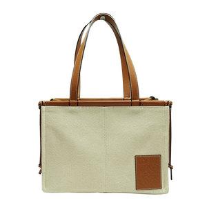 LOEWE Cushion Tote Bag Canvas Leather Camel