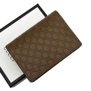 Gucci Coin Case Card Micro Shima Leather Ladies Men