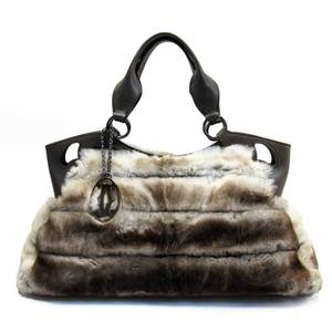Cartier Handbag Marcello Ivory Rabbit Fur Leather Ladies