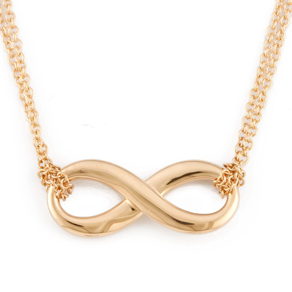 Tiffany Co Tiffany K18pg Necklace Cross Double Chain Infiniti Ladies K18 Pink Gold Elady Com