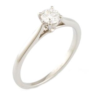 CARTIER Pt950 Ring Diamond 0.23CT Solitaire 6 Ladies Platinum
