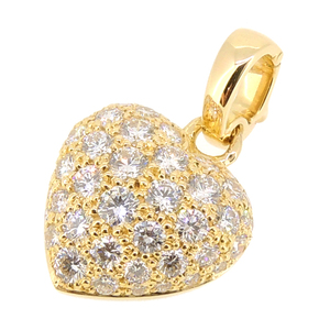Cartier Heart Diamond Ladies Pendant Top 750 Yellow Gold