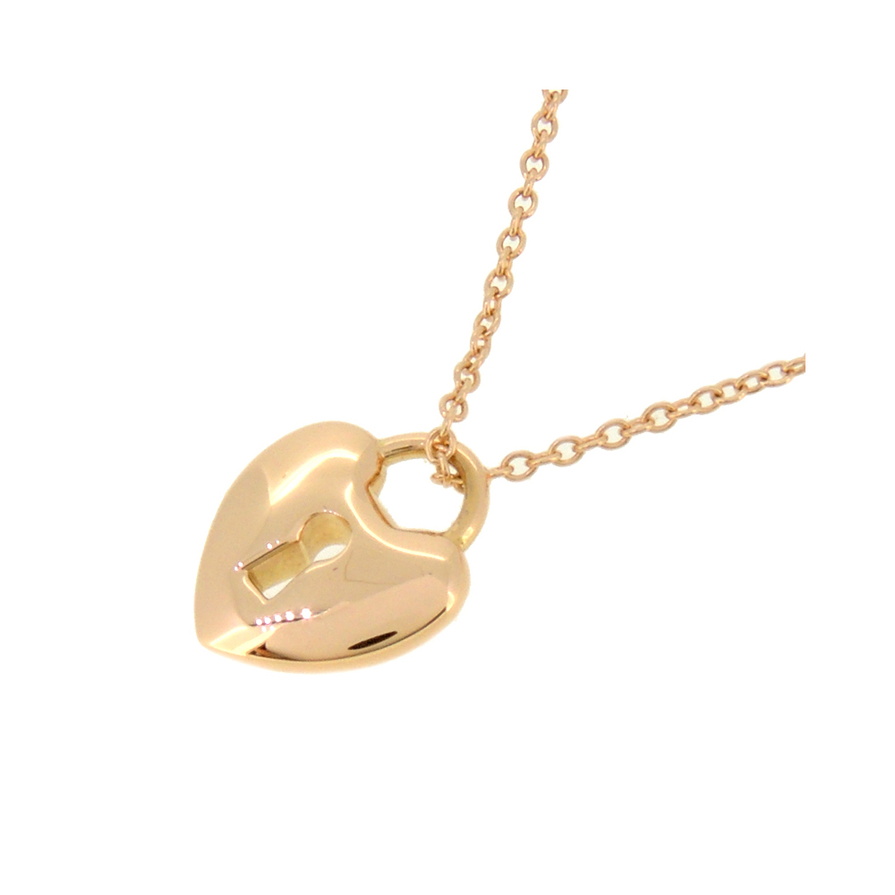 Tiffany Heart Lock Mini Ladies Necklace 750 Pink Gold Elady Com