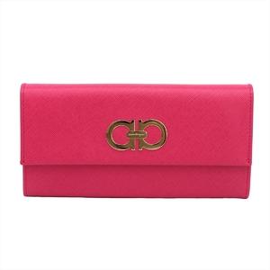 Salvatore Ferragamo Gancini Women's Leather Long Wallet (bi-fold) Pink