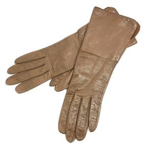 Chanel Gloves Oak Brown Lambskin Silk CHANEL Size 7 2/1 Ladies Coco Mark Logo