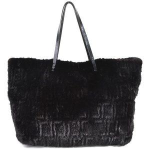 Fendi Handbag Fur Bag Zucca Black Leather FENDI Women