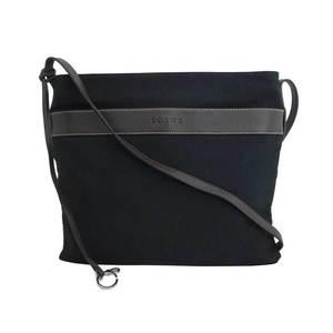 LOEWE Bag Logo Black Dark Brown Silver Hardware Canvas Leather Shoulder Ladies Men
