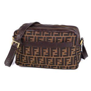 FENDI Zucca shoulder bag canvas leather ladies brown vintage