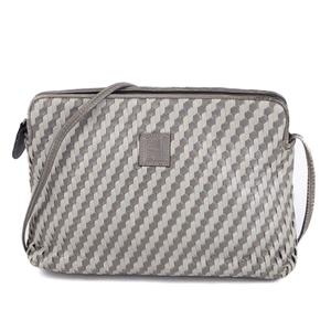 Fendi FENDI Shoulder Bag Crossbody FF Logo Leather Gray Ladies Vintage