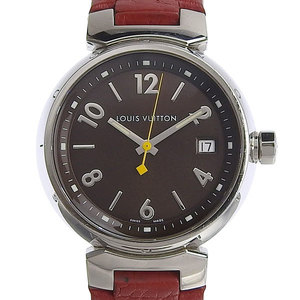 LOUIS VUITTON Tambour Steel Leather Quartz Unisex Watch Q1311