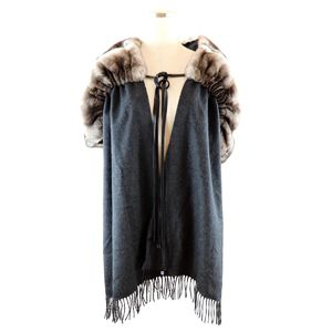 Fendi Ori Ragfur Shawl Stole Candy Stall Mohair Silk Ladies Gray
