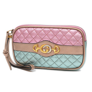 Gucci Eyephone Case Mini Pouch Leather Pink Green Gold 542202