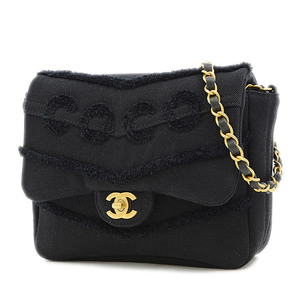 Chanel Small Flap Chain Shoulder Black COCO Cotton AS1595 Bag