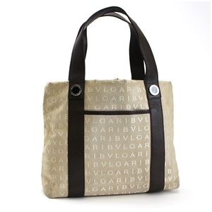 Bvlgari Logo Mania Tote Bag Canvas Leather Beige Dark Brown BVLGARI